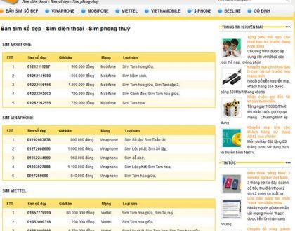 Thiết kế website bán sim số đẹp với bộ lọc chuyên nghiệp
