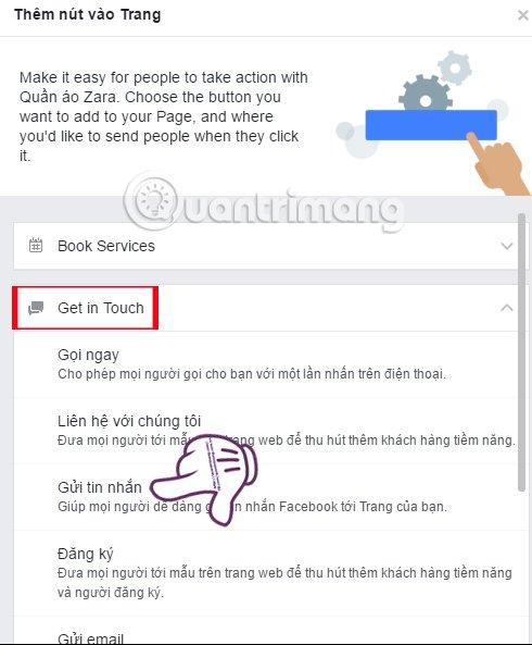 Facebook fanpage tao lien he