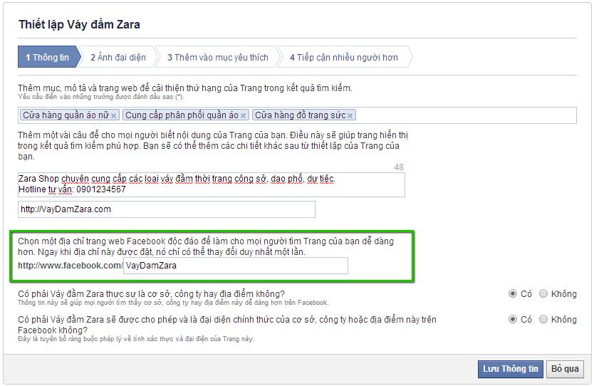 Nhap thong tin Fan page